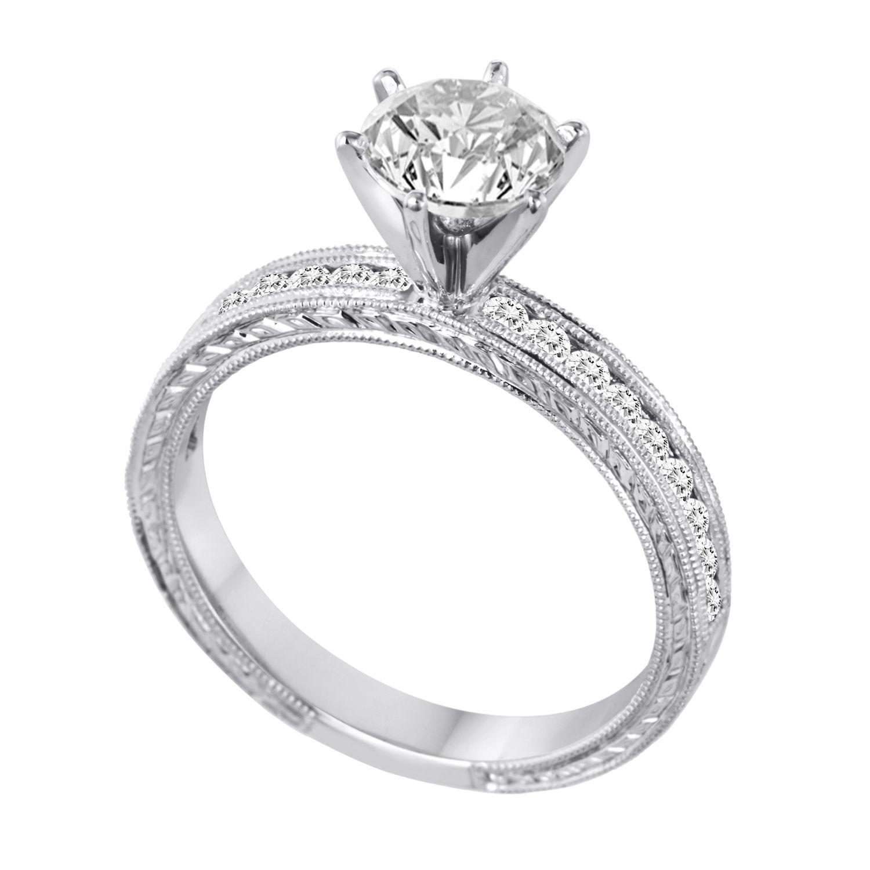 Elegant 18K White Gold Mill Grain Detailed Diamond