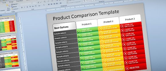 Free Product Comparison Powerpoint Ppt Presentation Template