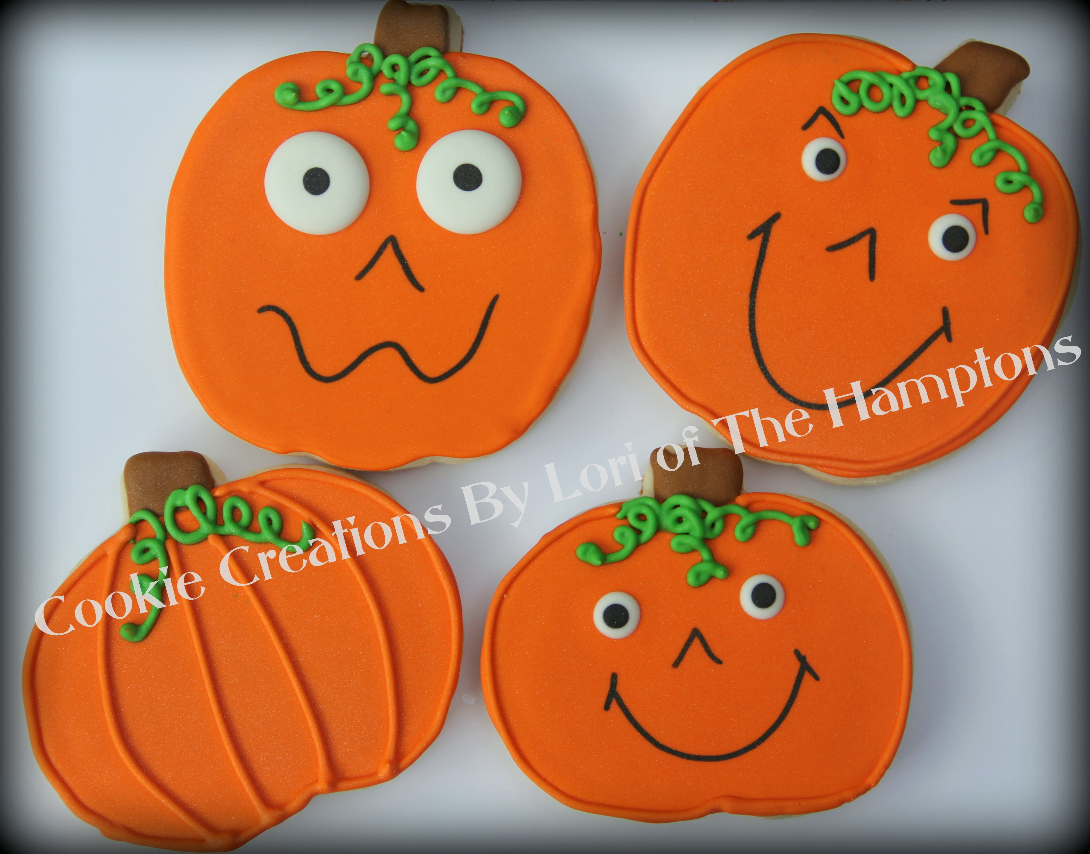 Silly faces Halloween Pumpkin decorated sugar cookies