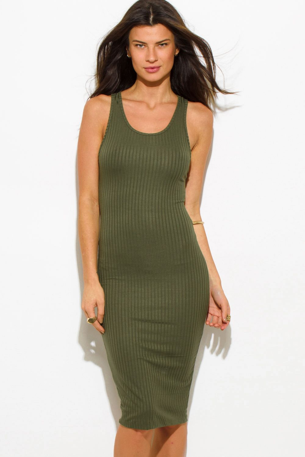 We Met In Fall Olive Green Ribbed Knit Sleeveless Scoop Neck Racer Back Bodycon Fitted Club Midi D Cheap Midi Dress Fitted Knee Length Dress Army Green Dress [ 1498 x 1000 Pixel ]