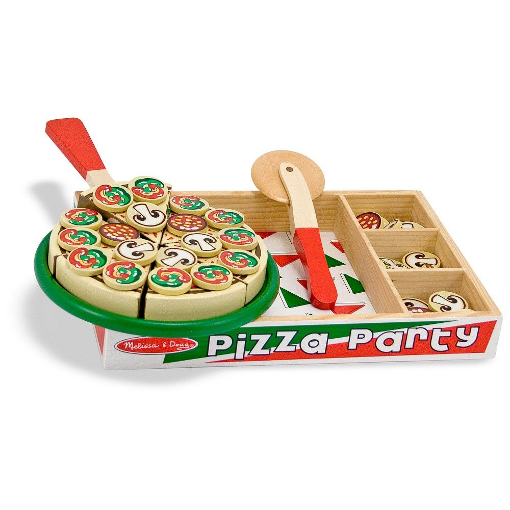 Melissa Doug Pizza Party Wooden Play Food Set With