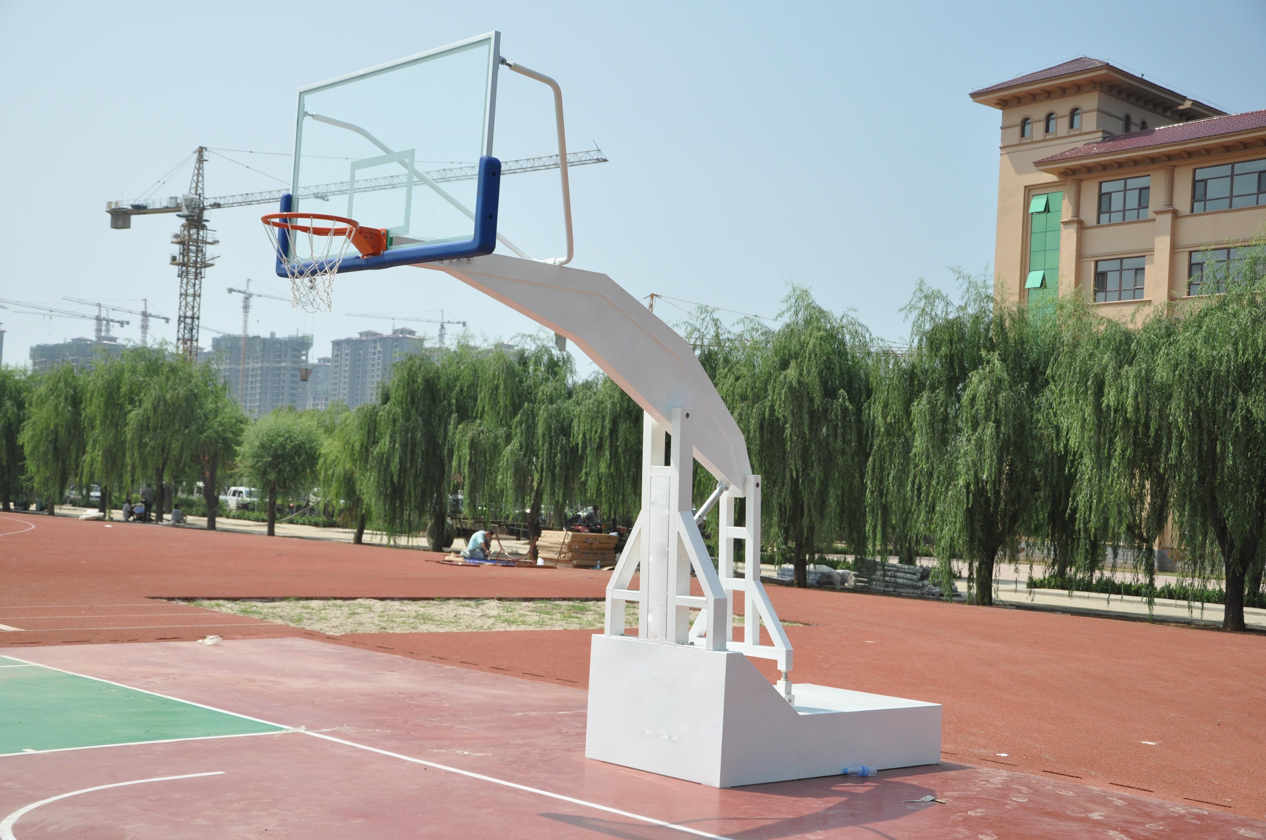 Electric Hydraulic Folding Basketball Hoop Goal Easy To Move With Wheel System Under The Base S Outdoor Basketball Court Basketball Equipment Basketball Hoop