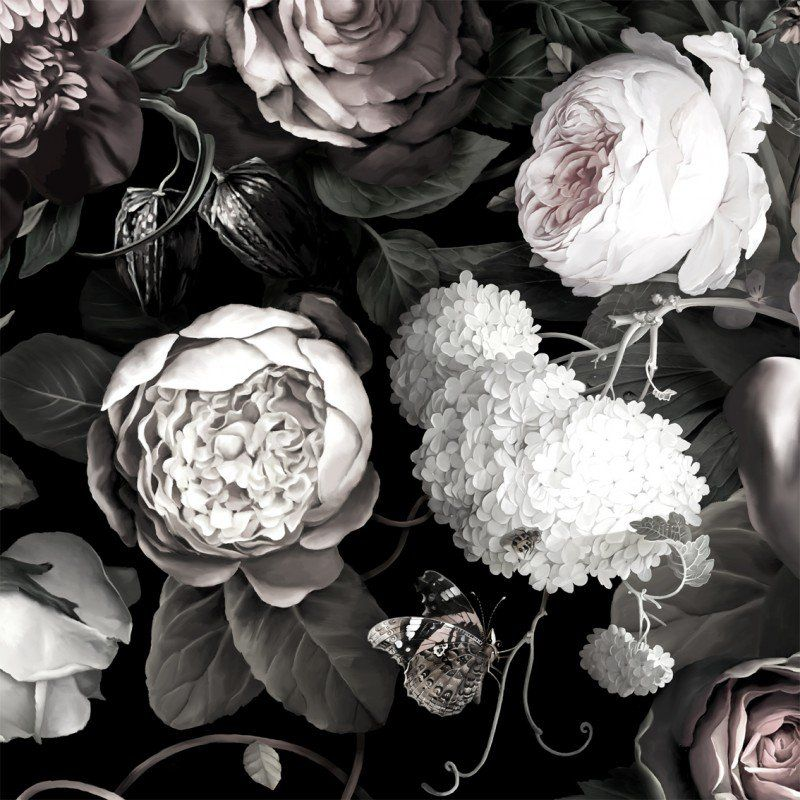 23 Floral Wallpaper Designs Decor Ideas: Dark Floral II Black Desaturated XL (200%) Wallpaper In
