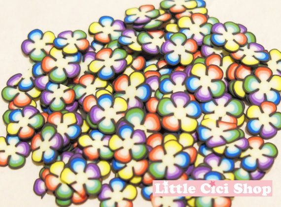 100pcs Colorful Flower Polymer Clay Cane Slices Set - Flower Fimo Mix Miniature Sweets Decoden Kawaii Flower Fimo Cane Nail Art YYP10