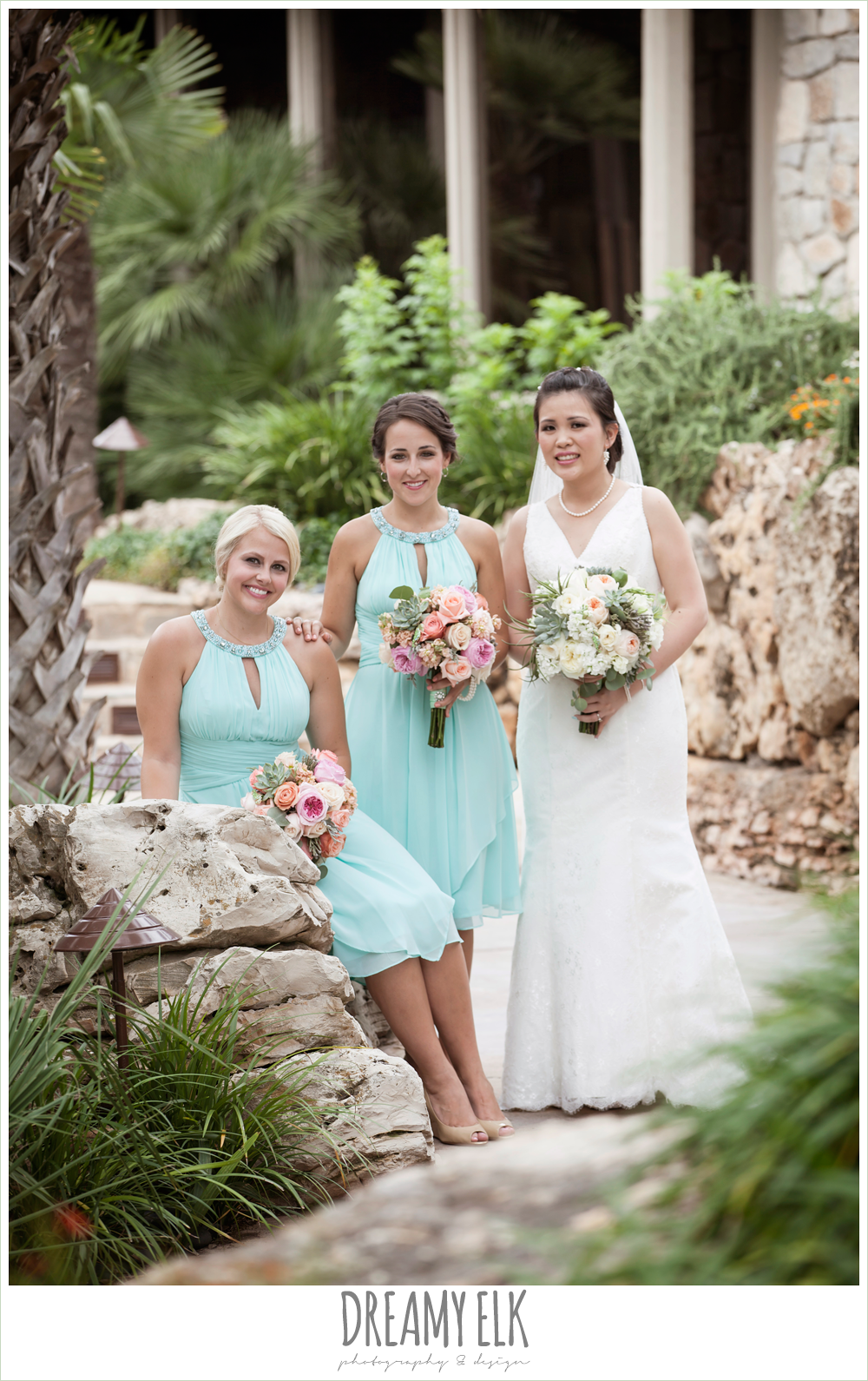Sandustin nautical wedding horseshoe bay resort texas bride and bridesmaids lace two shouldered wedding dress aqua bridesmaid dress nautical theme ombrellifo Images