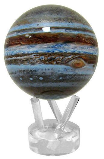 Jupiter - MOVA Solar Powered Globe (Free Shipping) MOVA world globe uses solar power, as well as the force of planet earth's magnetic field to perpetually revolve on virtually any* surface.  The globe rotates in continuous motion as if by magic on an elegant clear acrylic stand. No batteries or wires are required. This unique MOVA world globe makes for a truly stylish and exceptional corporate gift or award.