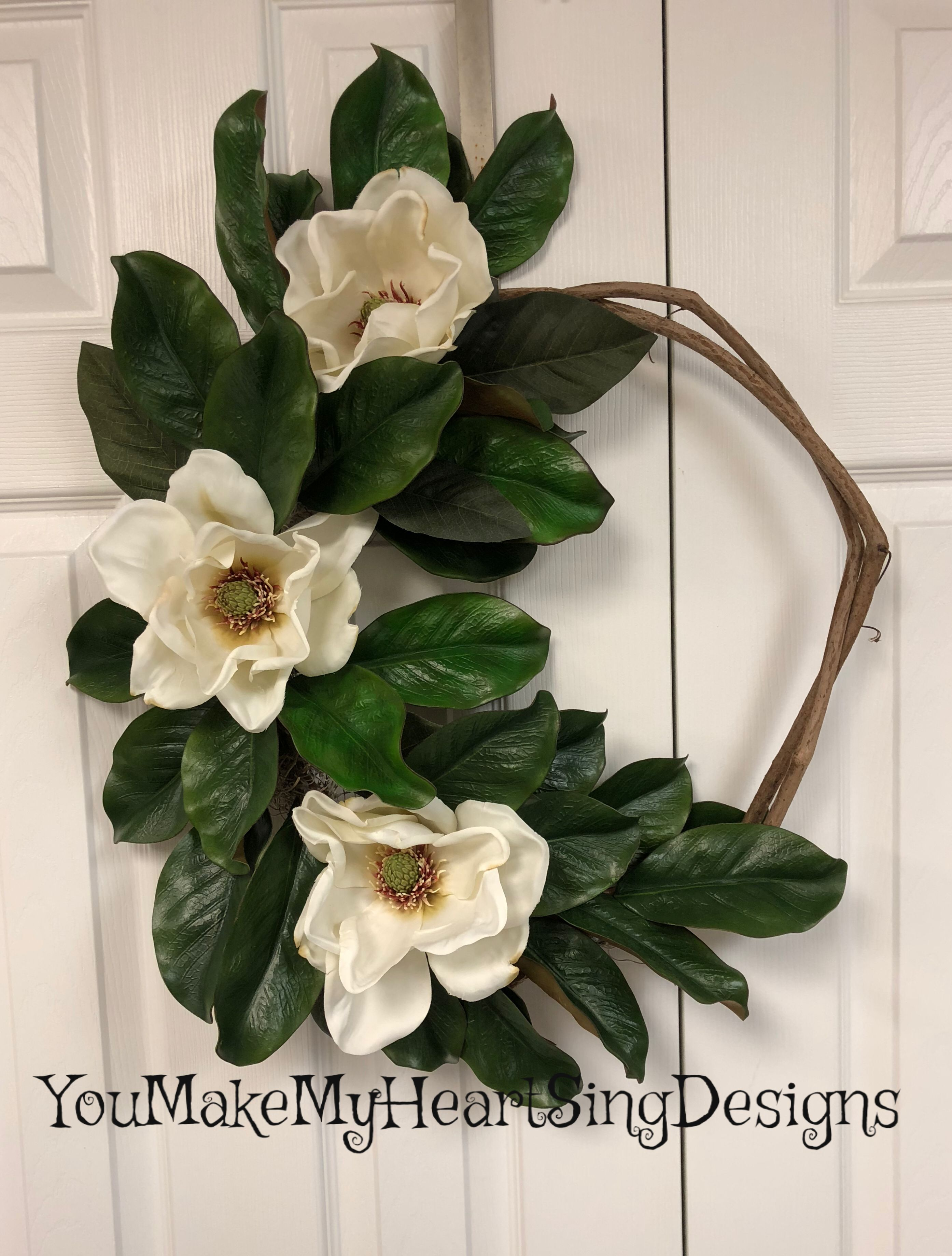 Farmhouse magnolia wreath front door wreath simple
