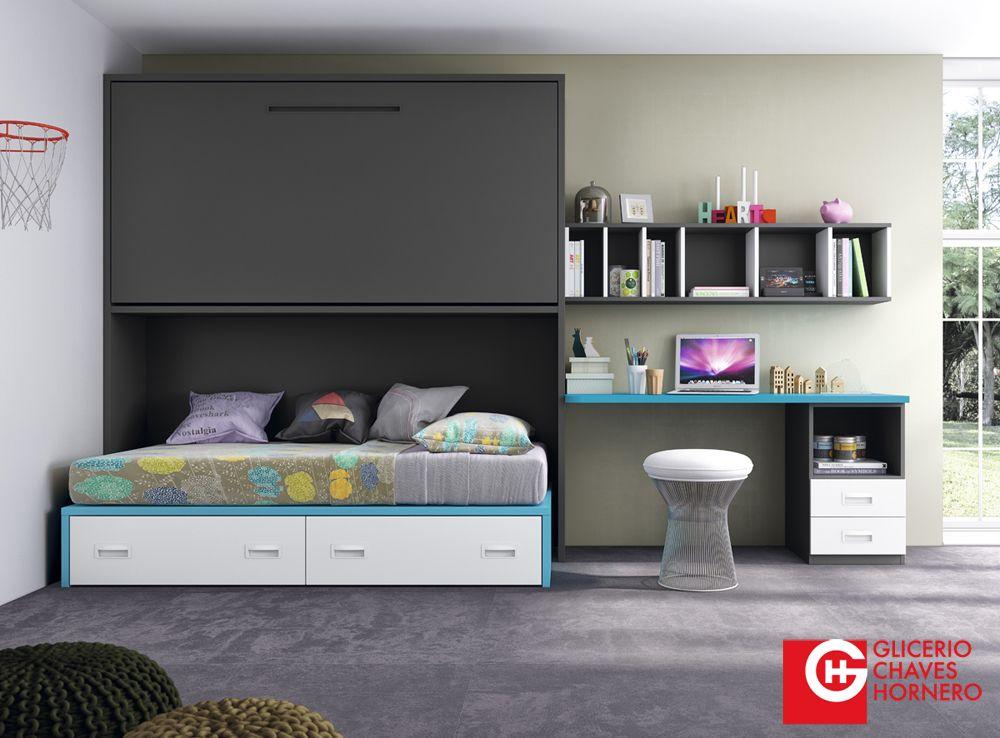 Dormitorio con cama abatible del nuevo cat logo formas15 for Dormitorios juveniles con cama grande