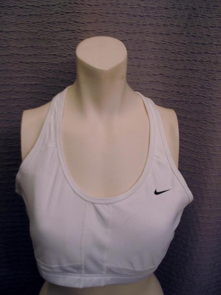 Nike Dri Fit Sports Bra Size XL White Polyester Spandex