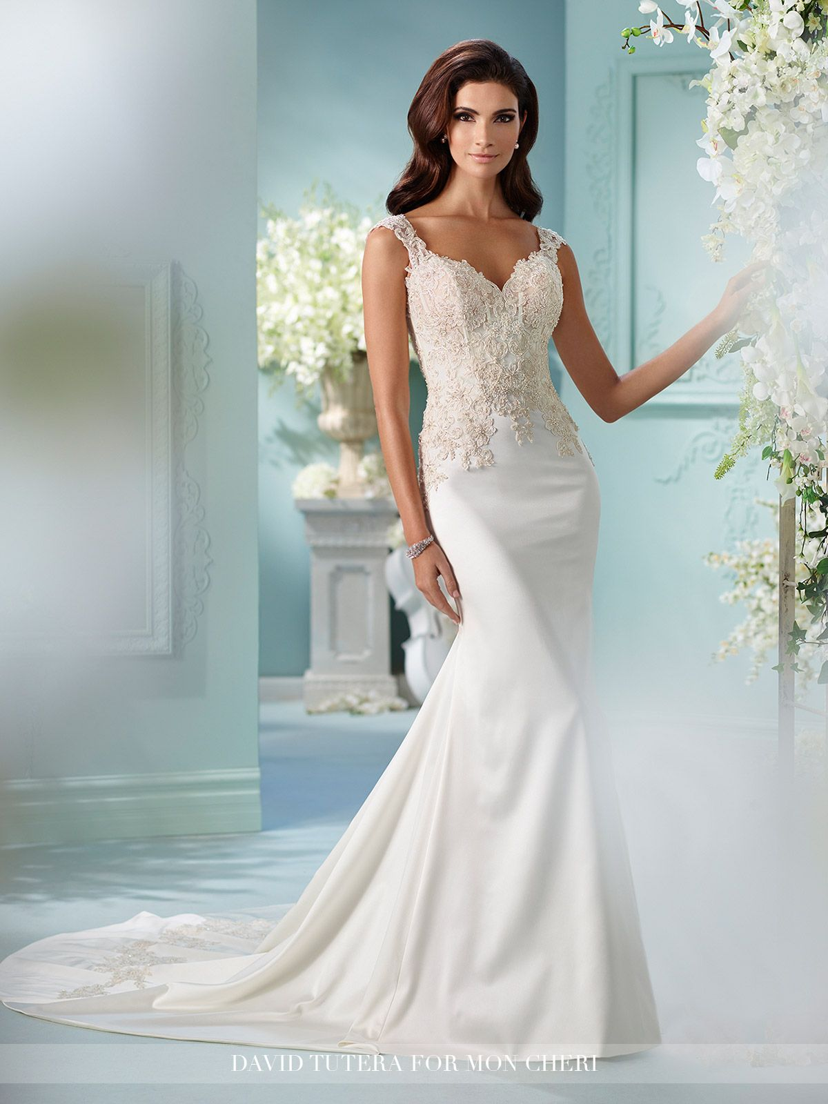 Tulle and Satin Fit & Flare with Lace Cap Sleeves- 216244 Larmina ...