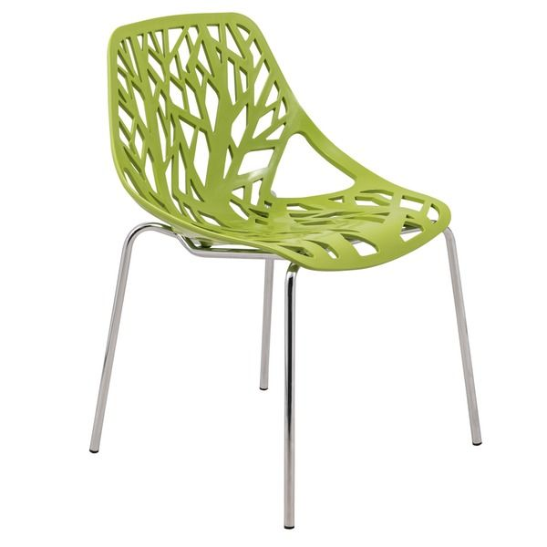 Beautiful LeisureMod Modern Asbury Dining Chair With Chromed Legs, Green