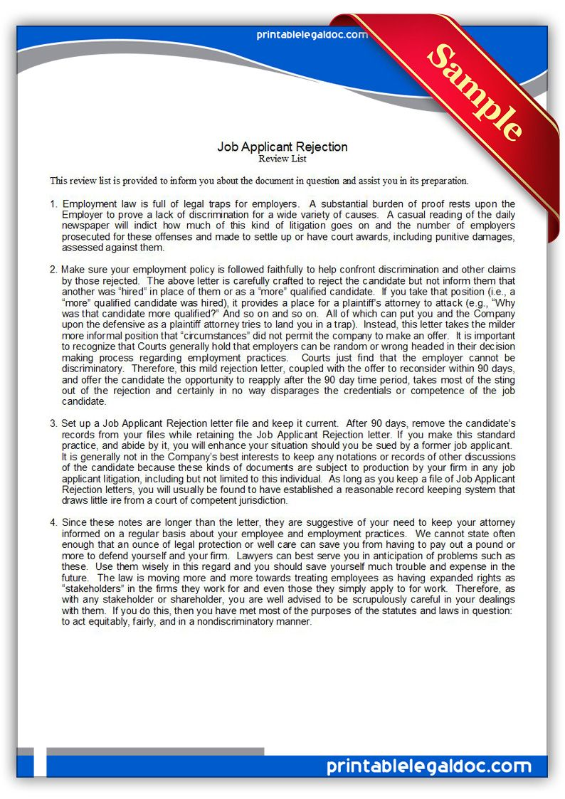 Free printable job applicant rejection letter legal forms free free printable job applicant rejection letter legal forms spiritdancerdesigns Gallery