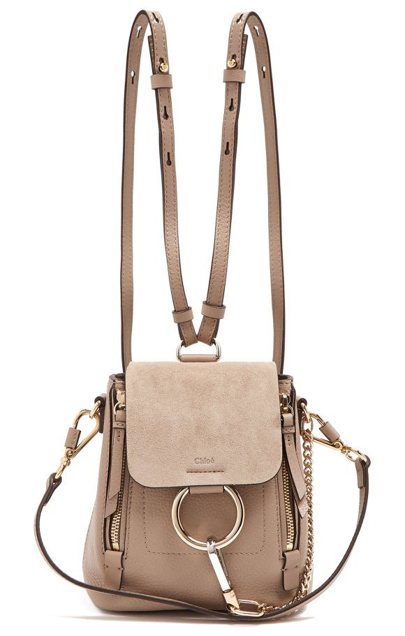 93349b4a45 Faye mini suede and leather backpack by Chloe. This taupe-grey suede and  leather Chloé Faye backpack is an optimally chic grown-up version of the  season s ...