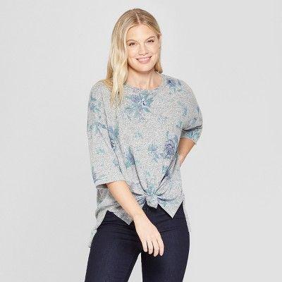 "Women s Floral Print Long Sleeve Knot Front Sweatshirt - Knox Roseâ"" 20Gray  M  Long ea4dfd7e2"