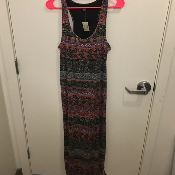 American Eagle Maxi dress size L Aztec and floral pattern, racket back and fabulous open back, but not revealing American Eagle Outfitters Dresses Maxi
