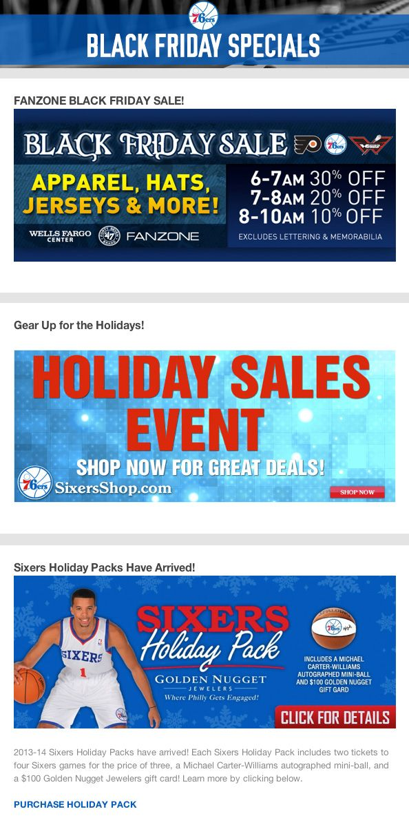Philadelphia 76ers - holiday packs