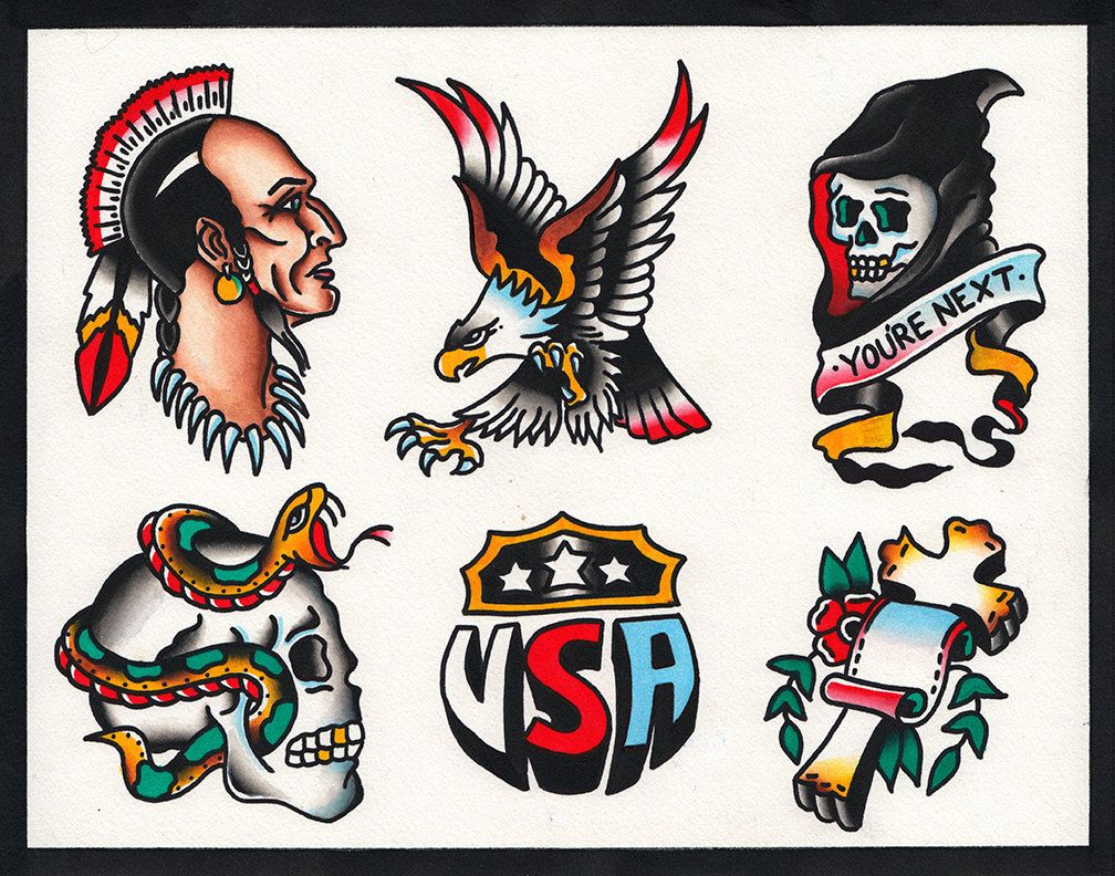 American Traditional Skull And Eagle: Native American Eagle Skull Snake Traditional By