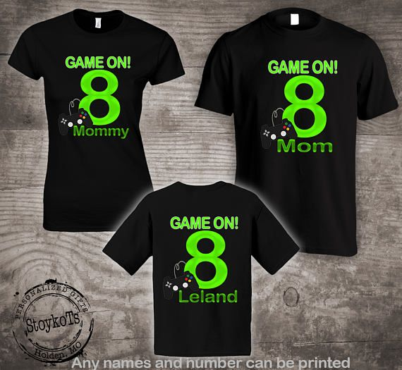Game On Birthday Party Shirts Video Gamer Personalized