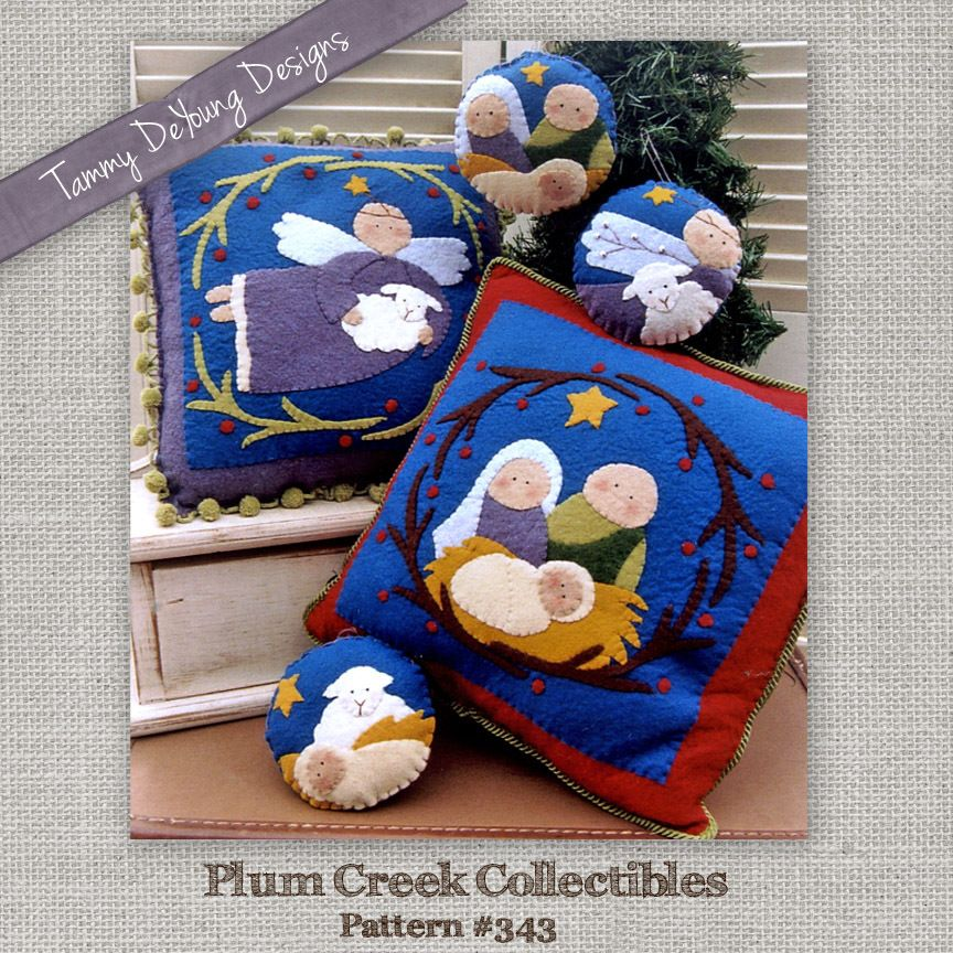Nativity Ornament and Pillow Christmas Applique Pattern #343 & Nativity Ornament and Pillow Christmas Applique Pattern #343 ... pillowsntoast.com