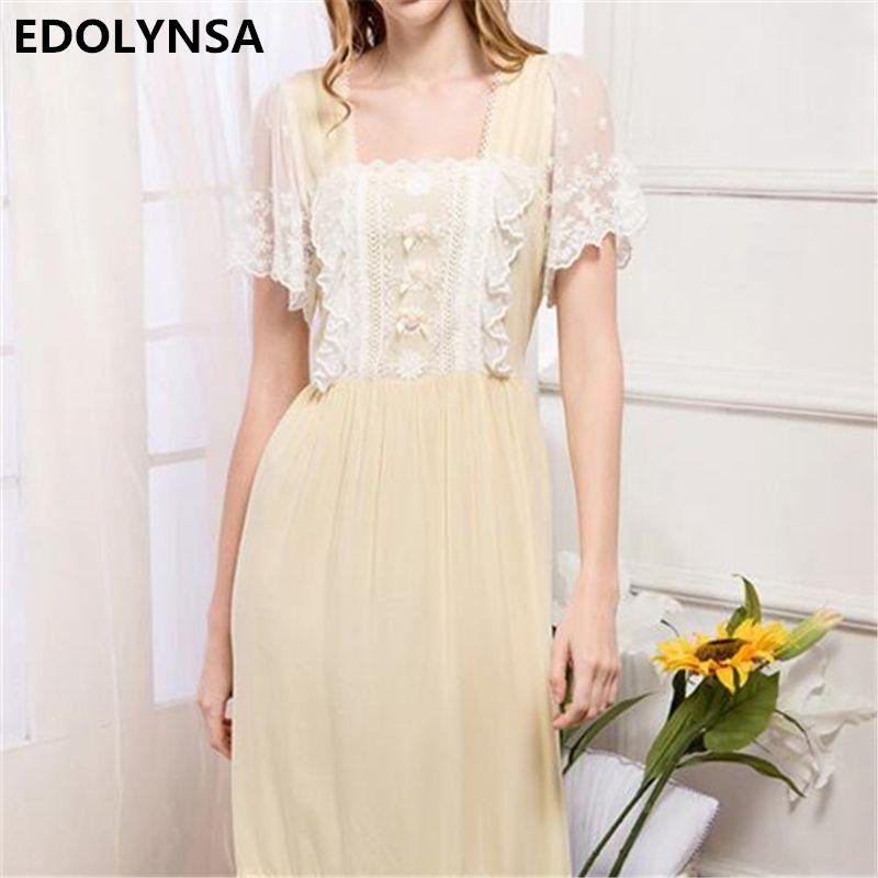 ee6e2a9c56 Nightgowns Sleepshirts 2017 Print Sleepwear Solid Home Dress Cute  Nightdress Sexy Sleep   Lounge Lace Nightgown