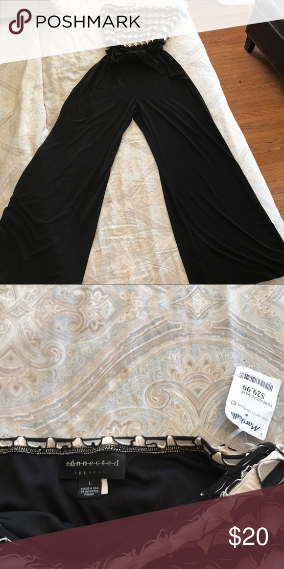 734fe0fd93c Connected Apparel Jumper Wide Leg Stretch Large NWT . Black   Ivory.  Stretch. Bow at waist. Connected Apparel Pants Wide Leg
