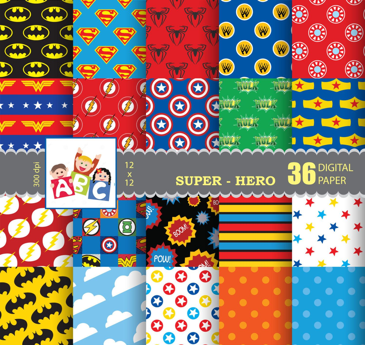 superhero scrapbook background digital scrapbook paper background digital background pattern. Black Bedroom Furniture Sets. Home Design Ideas