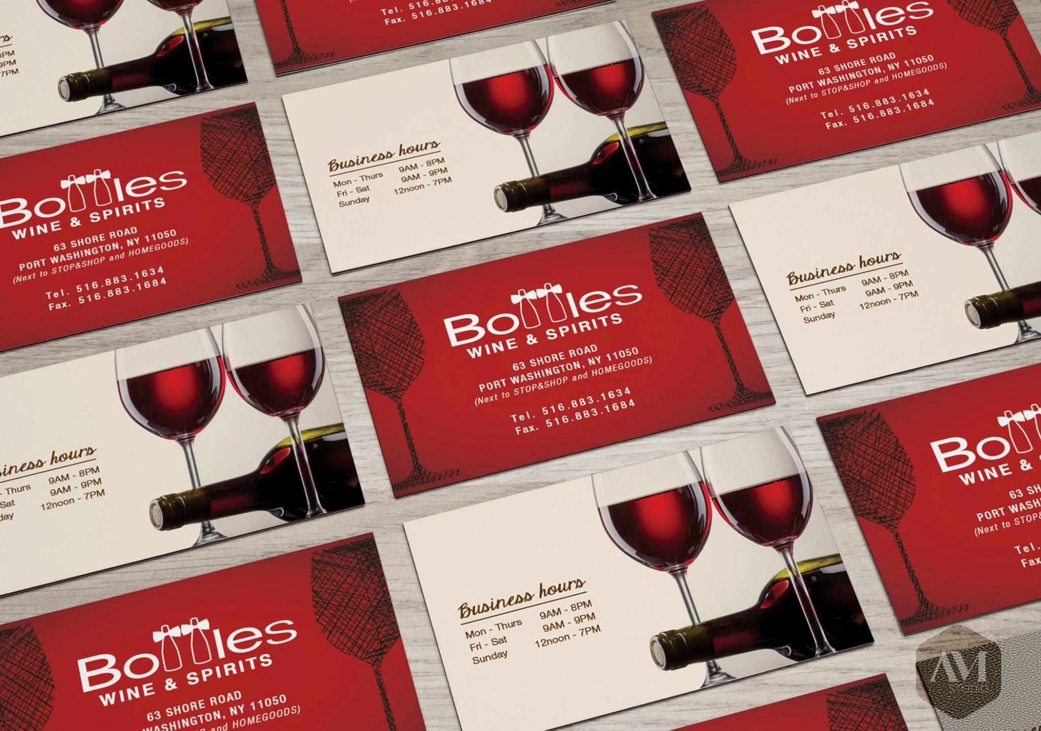 Bottle Wine Spirits Winery Business Card Design Design Amstudio Amdesign Wine And Spirits Wine Bottle Business Card Design