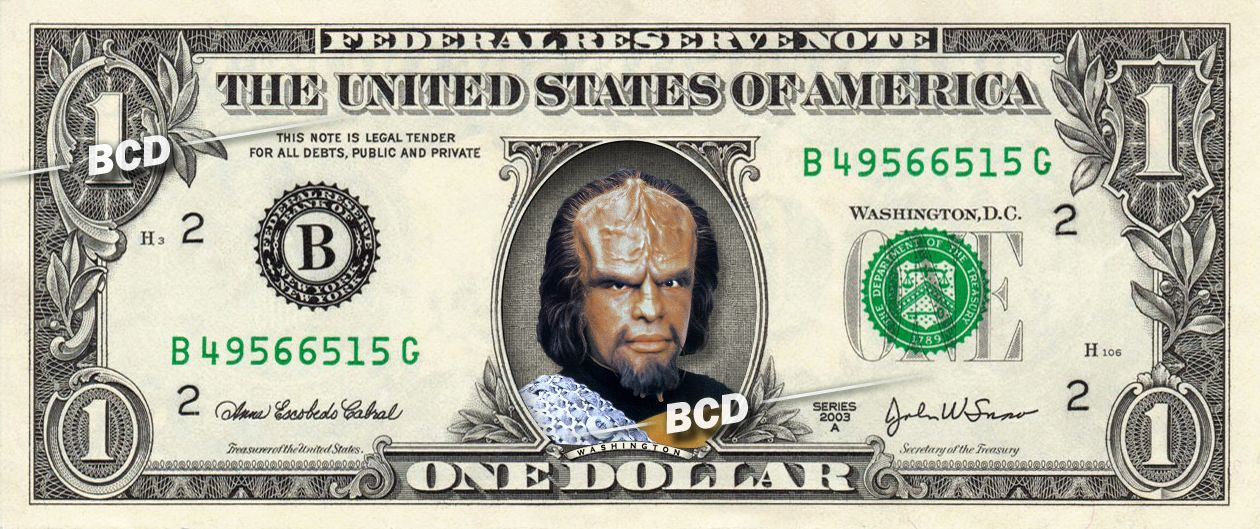 Worf on Real Dollar Bill - Star Trek