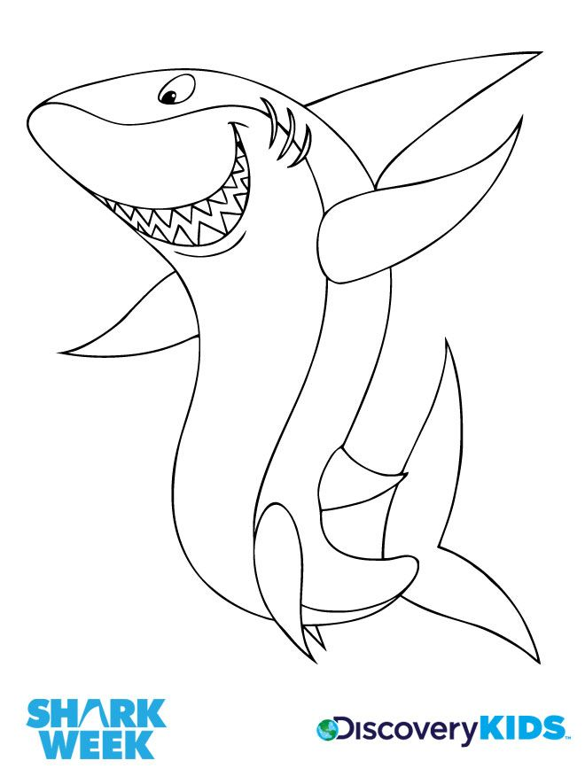 Happy Shark Coloring Page Discovery Kids Shark Craft Shark Coloring Pages Shark Week Crafts