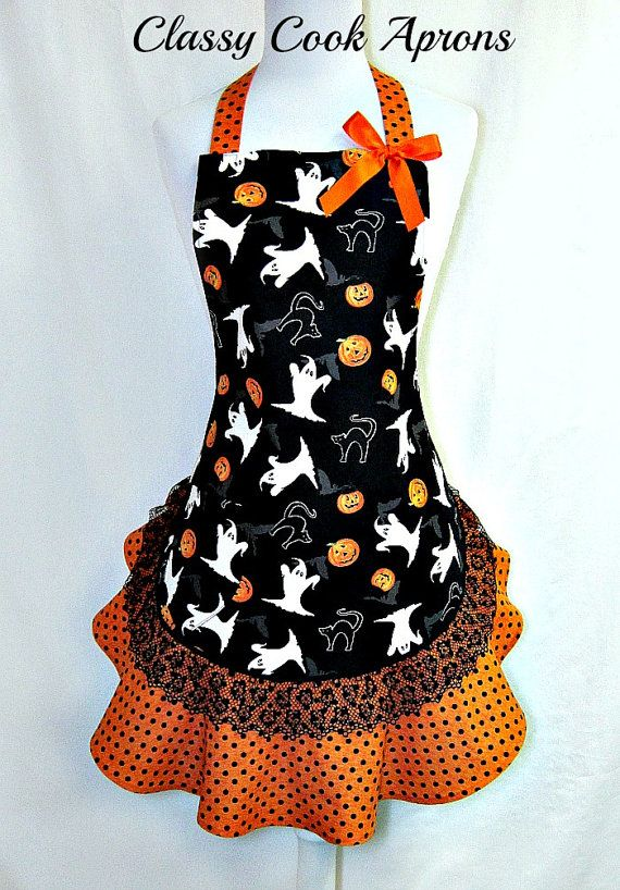 the Polly Womens Fall Apron Pumpkins Crows Black and White Polka Dot Over the Head