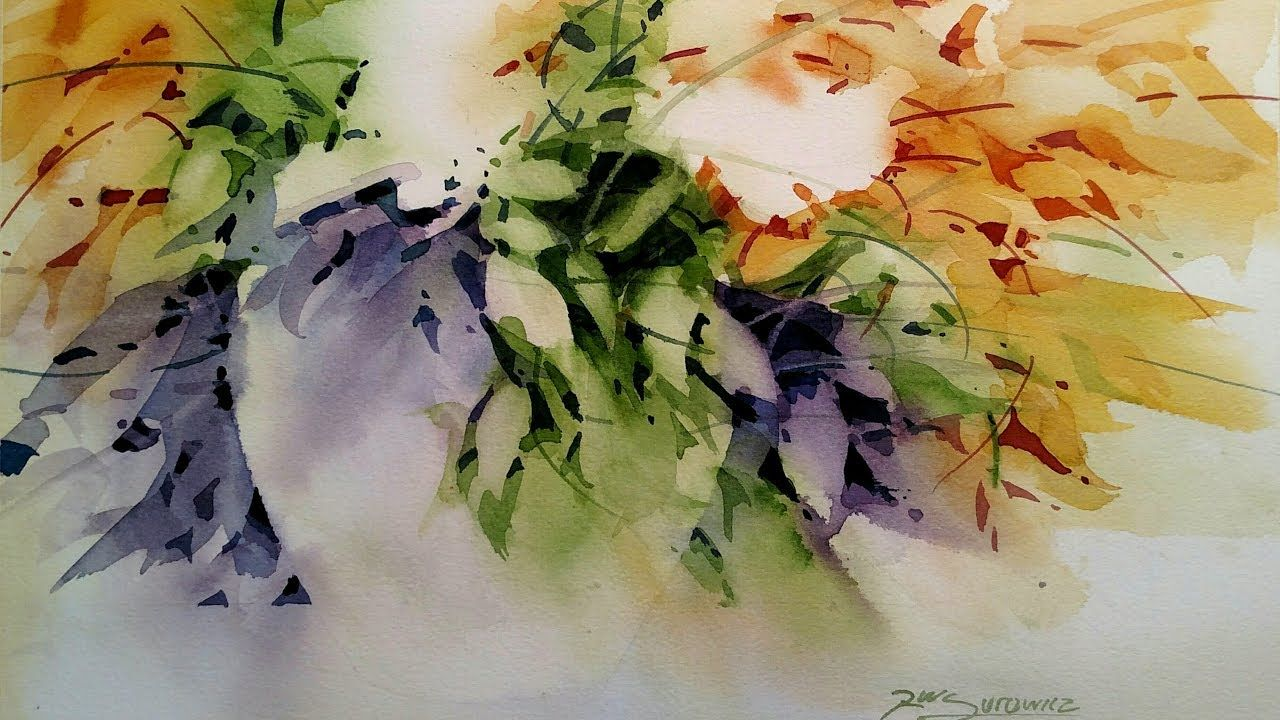 Flowers And Foliage Watercolor Negative Painting Demonstration