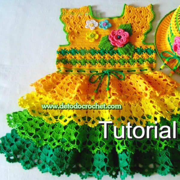 Vestido Crochet Para Niña de 7 - 8 años / Tutorial | Todo crochet ...