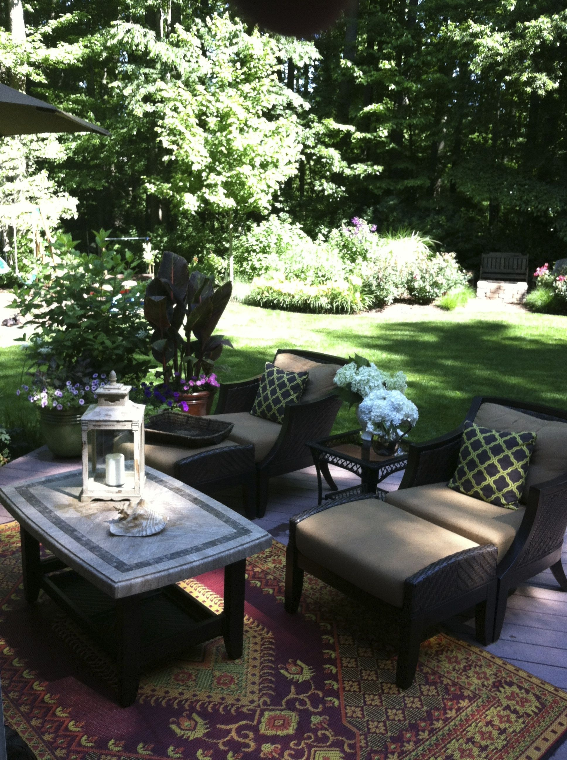outdoor seating area , Mad Mats rug, Costco furniture in
