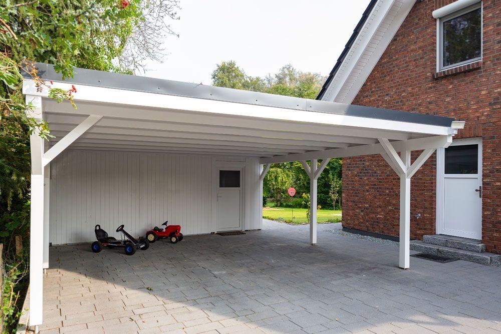 Doppel Carport Mit Gerateraum Metall Stahl Anthrazit Holz Stahlzart Carport Holz Carport Stahl Carport Metall