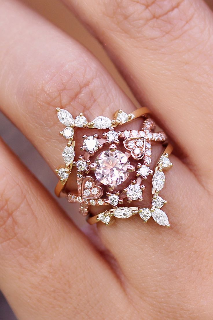 Morganite & Diamond Halo Unique Engagement Ring, Morganite Rose Gold ...