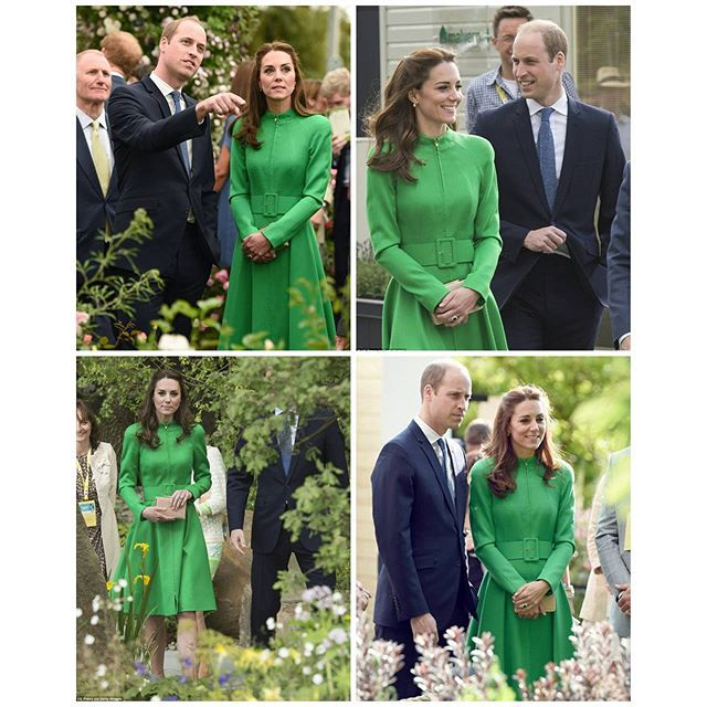 Catherine , the Duchess of Cambridge was accompanied by the other members of the Royal Family as they attended the Chelsea Flower Show. Kate has recycled a coat by Catherine Walker . 23 May 2016