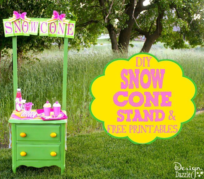 DIY Snow Cone Stand with FREE printables - Design Dazzle