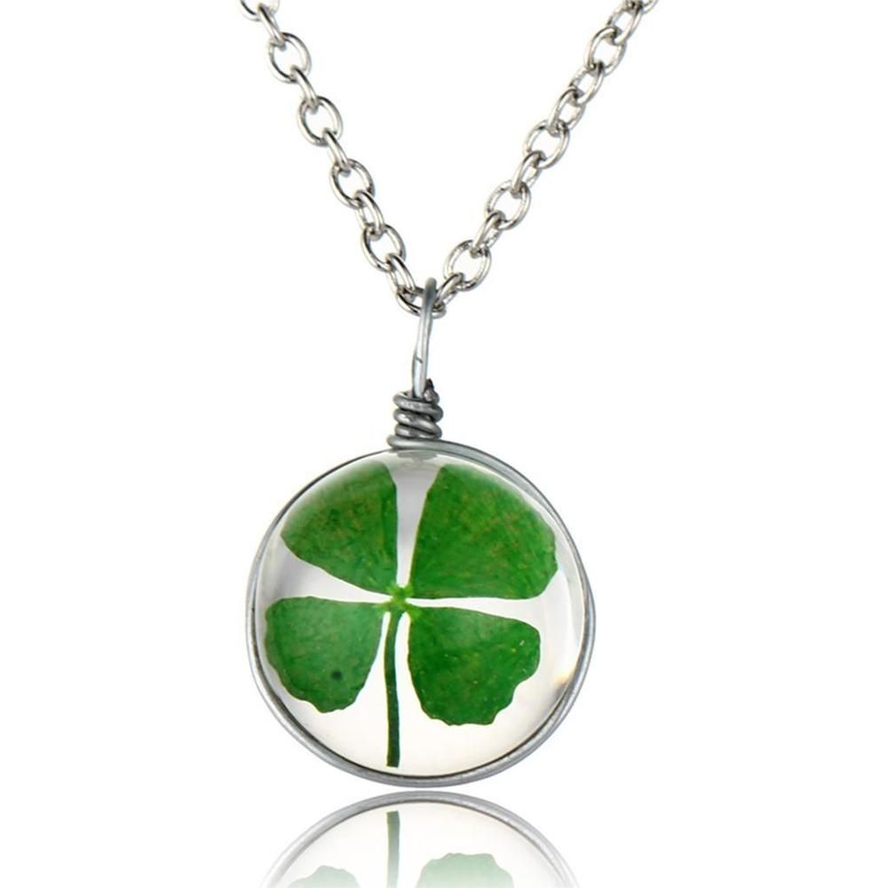 Green lucky shamrock necklace four leaf clover charm emerald green - Details About Green Real Dried Four Leaf Clover Round Pendant Good Lucky Necklace Jewelry