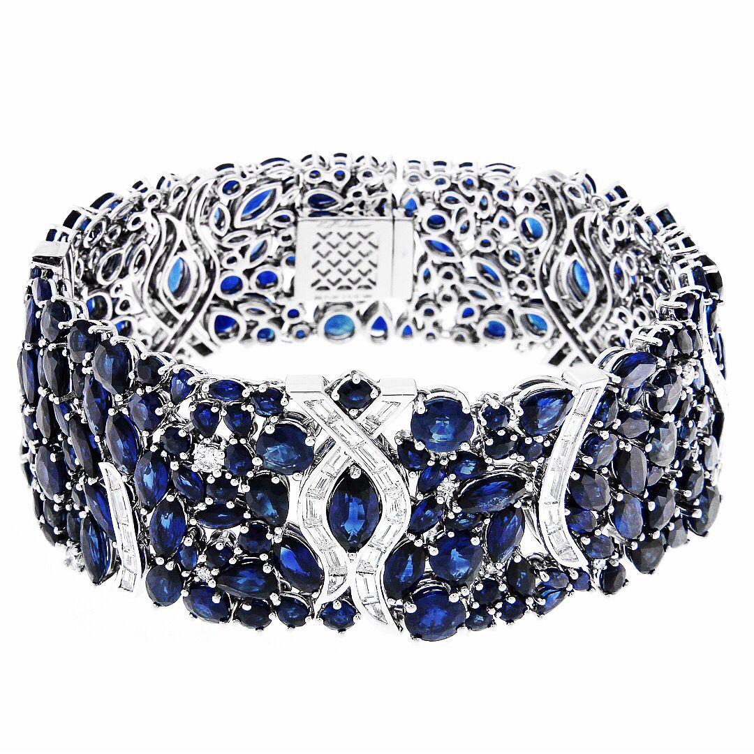 833650a71738 Sapphire and Diamond Bracelet by Kat Florence | Joyas II | Pinterest ...