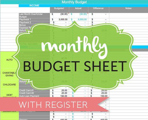 Monthly Budget Spreadsheet, Household Money Tracker