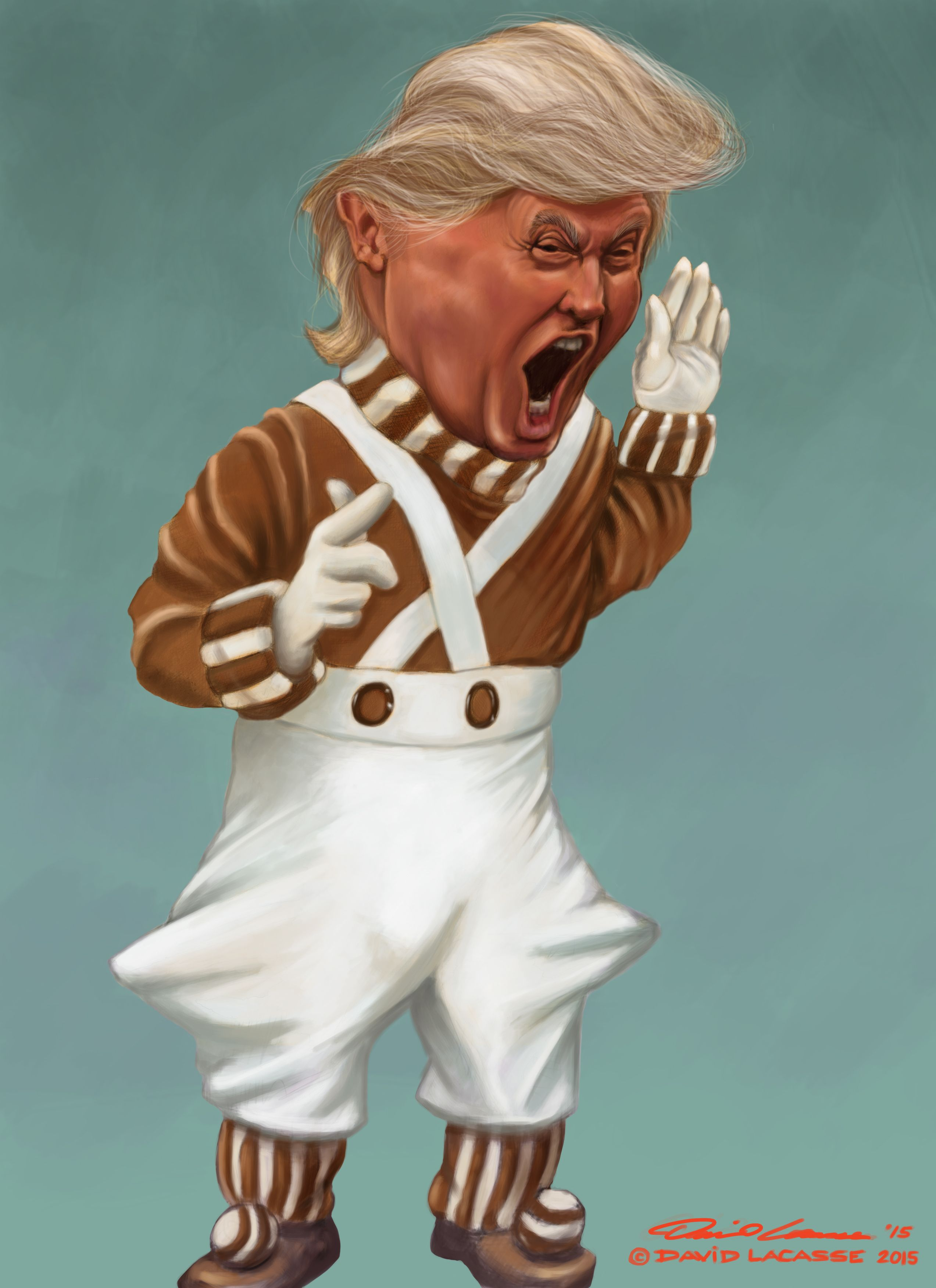 Donald Trump  Angry Oompa Loompa Digital Painting Caricature Of