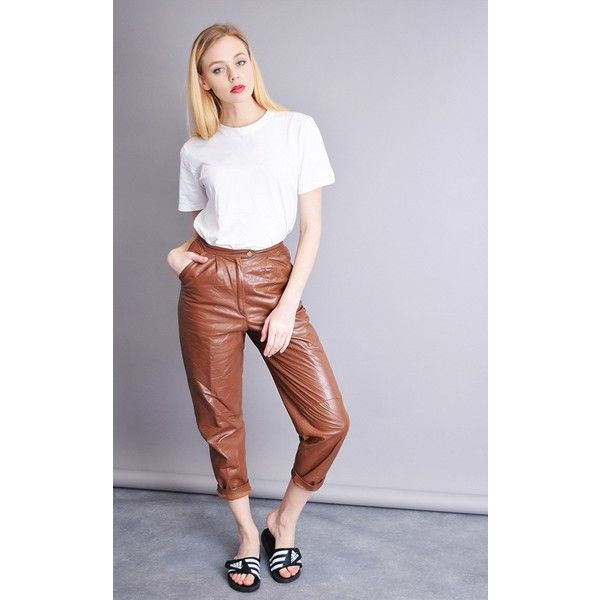 9d1922d4692e Vintaholic 80 S Retro Highwaisted Genuine Leather Brown Trousers ( 69) ❤  liked on Polyvore featuring pants
