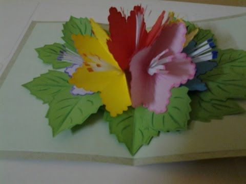 How To Make Pop Up Flowers Card For Beginners 4 Pop Up Flower Cards Flower Cards Pop Up Flowers