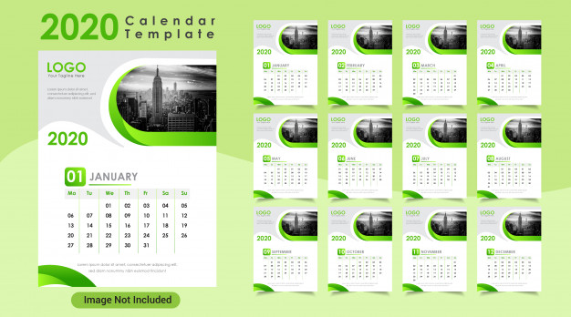 36 Kalender Dinding 2021 Hijau Desain Moderen Psd Dan Vector Kalender Template Desainer