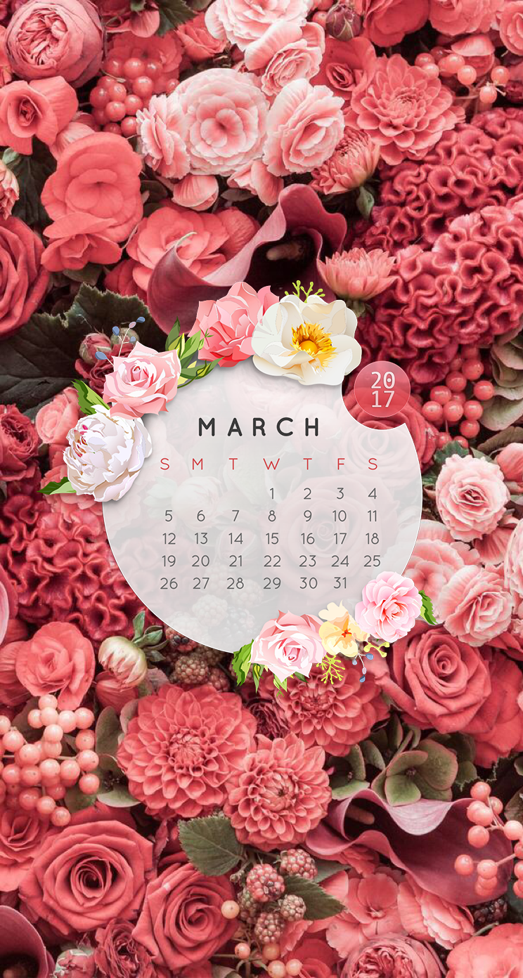 Wallpaper Iphonecalendar March 2017pink Roses Iphone