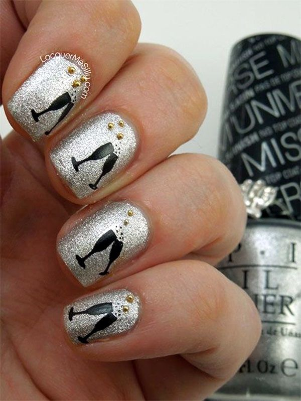 55 easy new years eve nails designs and ideas 2018 easy nail 45 easy new years eve nails designs and ideas 2016 prinsesfo Image collections