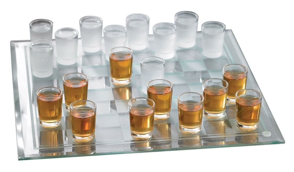 Clear Shot Glass Checkers Bar Game Set Drinking Game Modern Home Bar Decor New #CrystalClear