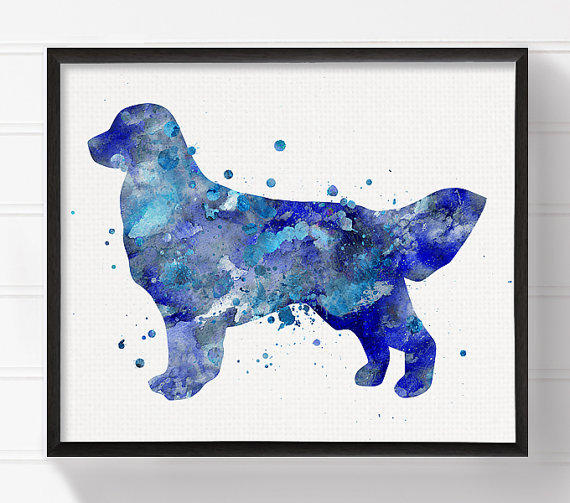 Blue Golden Retriever Art Print Golden Retriever by MiaoMiaoDesign