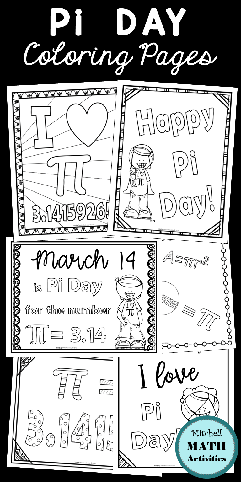 Set Of 10 Coloring Pages Created To Enhance Your Pi Day Celebration Includes Pages Appropriate F Upper Elementary Math Upper Elementary School Coloring Pages