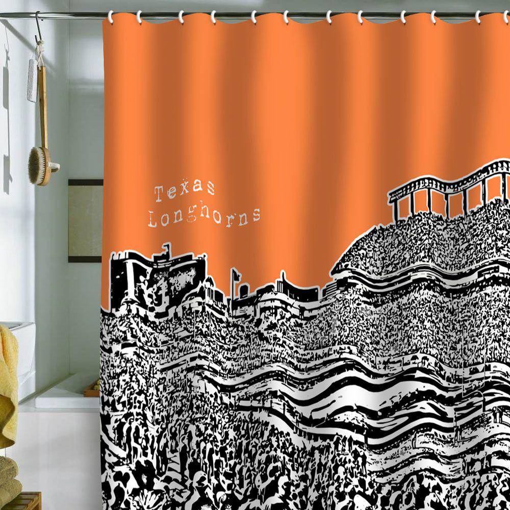Texas Longhorns 72 X 70 Burnt Orange Collegiate Shower Curtain